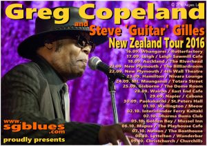 Greg Copeland and Steve Guitar Gilles New Zealand Tour 2016 poster Blues from Virginia USA