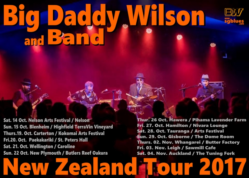 Big Daddy Wilson and band New Zealand tour poster 2017